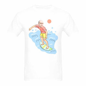 Custom Face Photo Surfing Boy Men's Heavy Cotton T-Shirt - Gildan - myphotowears