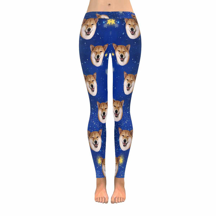 Custom Dog Photo & Starry Sky Print Women's Leggings