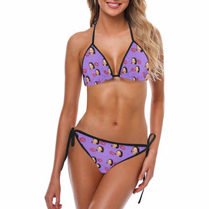 Custom Women's Face And Kiss Patterns Photo Swimsuit - myphotowears