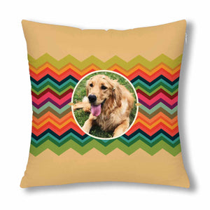 Custom Pet Photo And Colorful Stripes Pillow Case - myphotowears