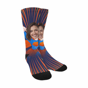 Custom Women's Face & Superman Print Sublimated Crew Socks - myphotowears