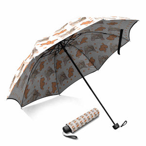 Custom Cat's Face Photo & Love Heart Print Sun & Rain Foldable Umbrella - myphotowears