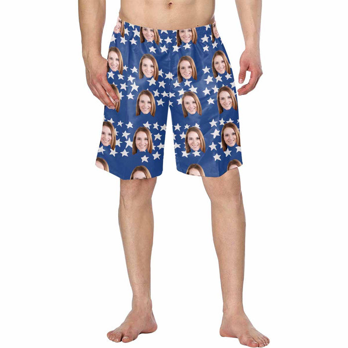 Custom Photo And Stars Patterns Man's Swimwear Short Pants