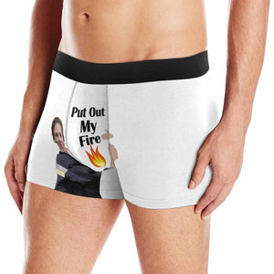 Custom Face Female Firefighter Put Out My Fire Men's All-Over Print Boxer Briefs