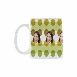 Custom Women's Face And Green Dot Patterns Mug|Personlized Photo Gift - myphotowears