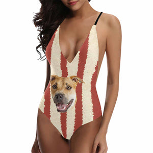 Custom Red And White Lines With Photo Deep V-neckline Swimsuit - myphotowears