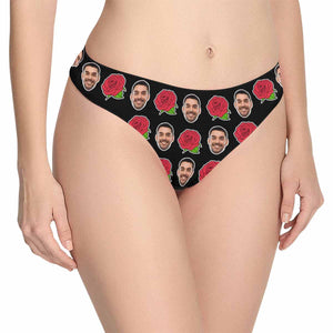 Custom Face Red Rose Green Leaves Women's Classic Thong