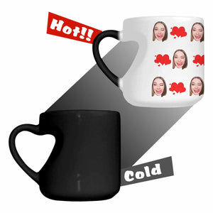 Custom Woman's Face And Heart Photo Heart- Shaped Morphing Mug - myphotowears