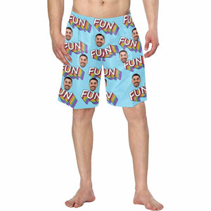 Custom Man's Face And 'FUN' Patterns Men's Swim Trunk - myphotowears