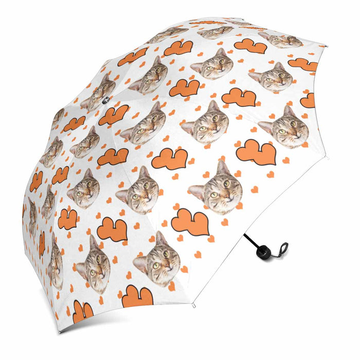 Custom Cat's Face Photo & Love Heart Print Sun & Rain Foldable Umbrella