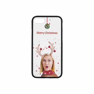 Custom Face Iphone Phone Rubber Case (with Hard Plastic Back) - Christmas Reindeer - myphotowears