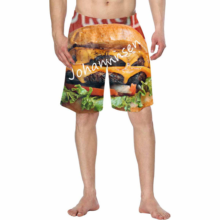 Custom Name & Hamburger Print  Men's Swim Trunk