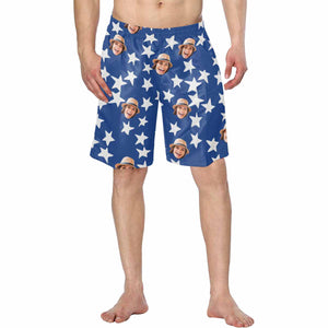 Custom Photo & Star Men's Swim Trunk - myphotowears