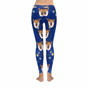 Custom Dog Photo & Starry Sky Print Women's Legging - myphotowears