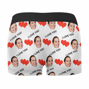 Custom Face & I LOVE YOU Men's All Over Print Boxer - myphotowears