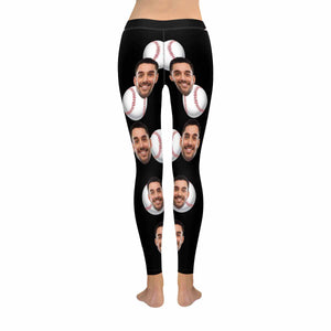 Custom Face Photo & Baseball Print Women's Low Rise Leggings - myphotowears