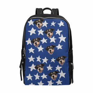 Custom Dog Photo & Star School Bag Travel Backpack 15-Inch Laptop - myphotowears