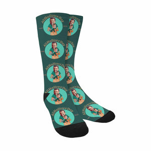 Custom Kid's & Dad's Photo & AllHallows'Day Sublimated Crew Socks (Made In USA) - myphotowears
