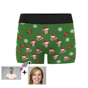 Custom Face Love Christmas Men's Boxer Briefs