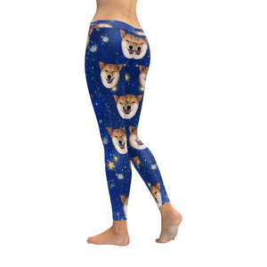 Custom Dog Photo & Starry Sky Print Women's Leggings - myphotowears