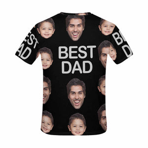 Custom Kid And Father's Photo And 'BEST DAD' Men's All Over Print T-shirt - myphotowears