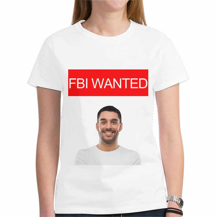 Custom Photo Gildan Women's Heavy Cotton T-Shirt - FBI WANTED Print