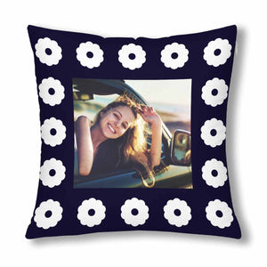 Custom White Flower Patterns With Photo Pillow Case - myphotowears