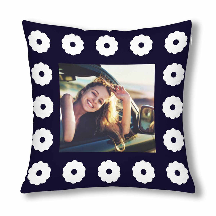 Custom White Flower Patterns With Photo Pillow Case