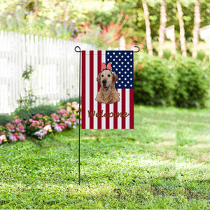 Custom Dog Face & Welcome US Garden Flag - myphotowears