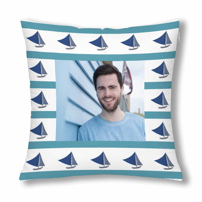 Custom Sailboat Patterns With Photo Pillow Case