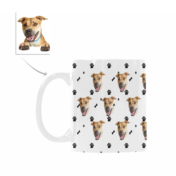 Custom Dog Photo  And Bone Patterns Mug