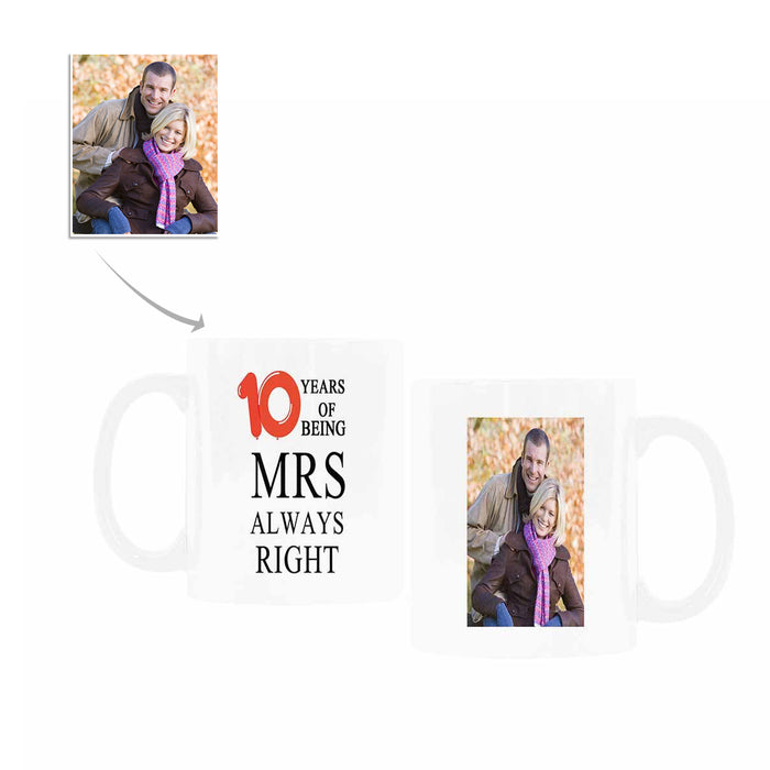 Custom Photo Mug For10th Anniversary Of Marriage
