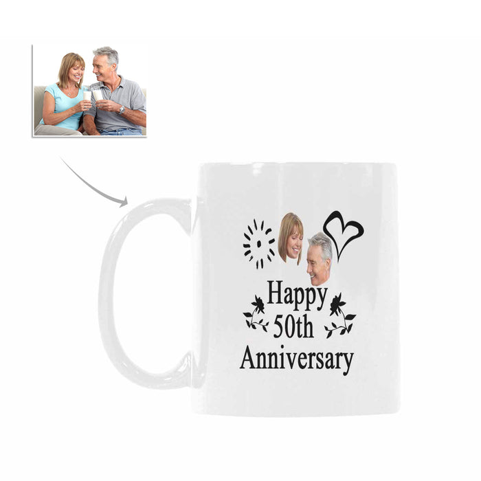 Custom 50 Years Anniversary Photo Of Marrying Pattern Mug