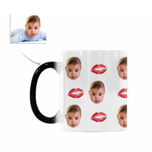 Custom Baby Face And Kiss Patterns Morphing Mug - myphotowears