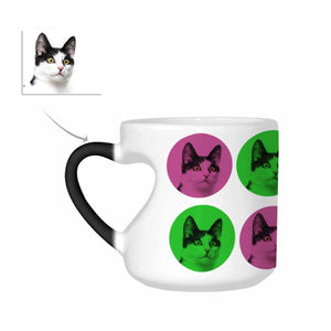 Custom Cat Photo Heart-Shaped Morphing Coffee Mugs - myphotowears