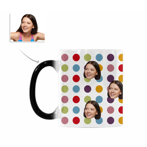 Custom Woman's Face And Dot Patterns Morphing Mug - myphotowears