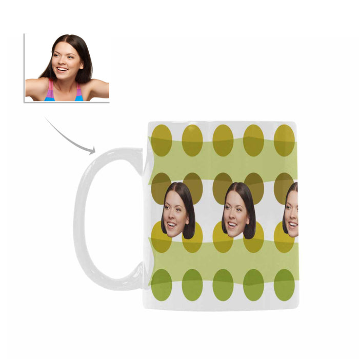 Custom Women's Face And Green Dot Patterns Mug|Personlized Photo Gift