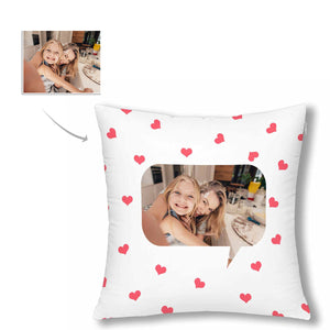 Custom Love Heart Pattern With Photo Pillow Case - myphotowears