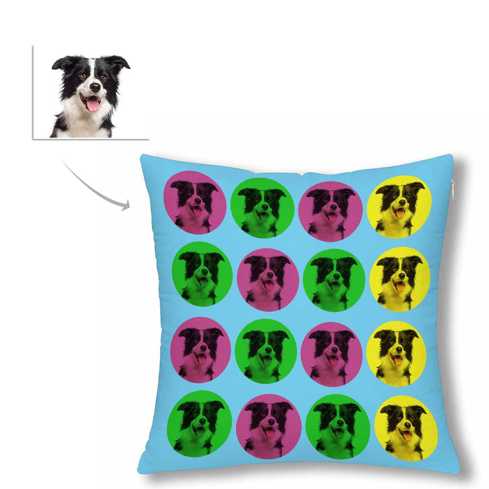 Custom Colorful Dog Face Photo Pillow Case