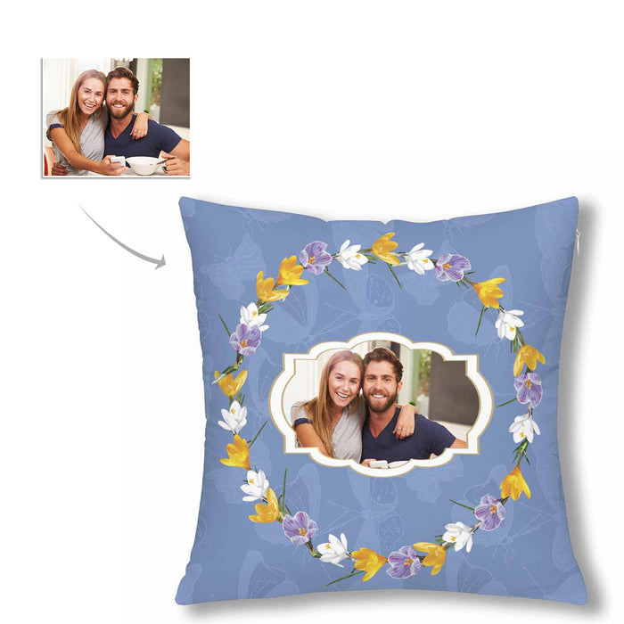 Custom Couple Photo And Flower Patterns Pillow Case