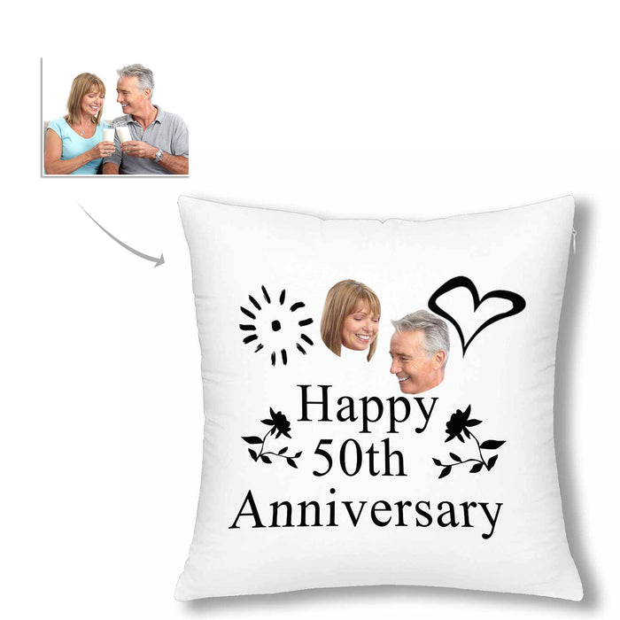 Custom 50 Years Anniversary Of Marrying Photo Pillow Case