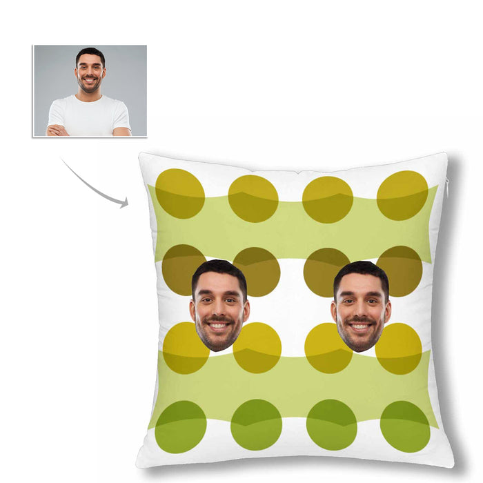 Custom Men's Face And Green Dot Patterns Pillow Case