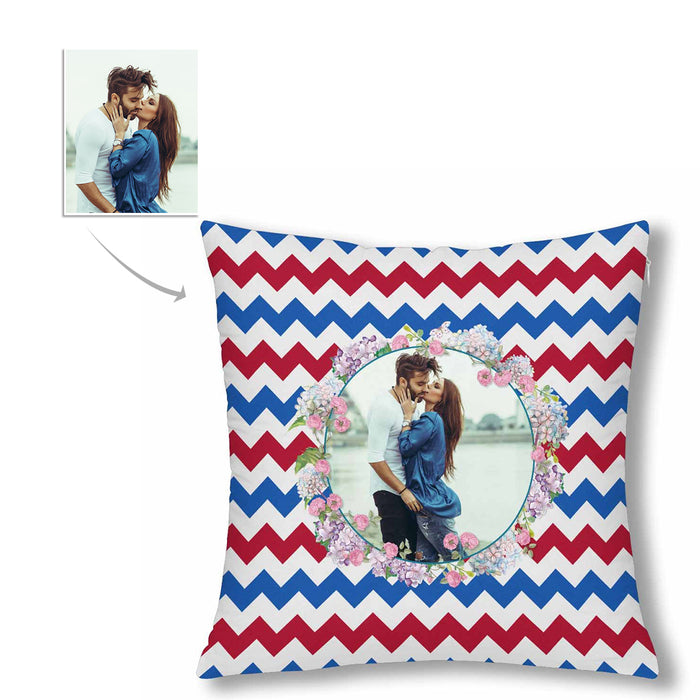 Custom Stripe Style With Photo Pillow Case