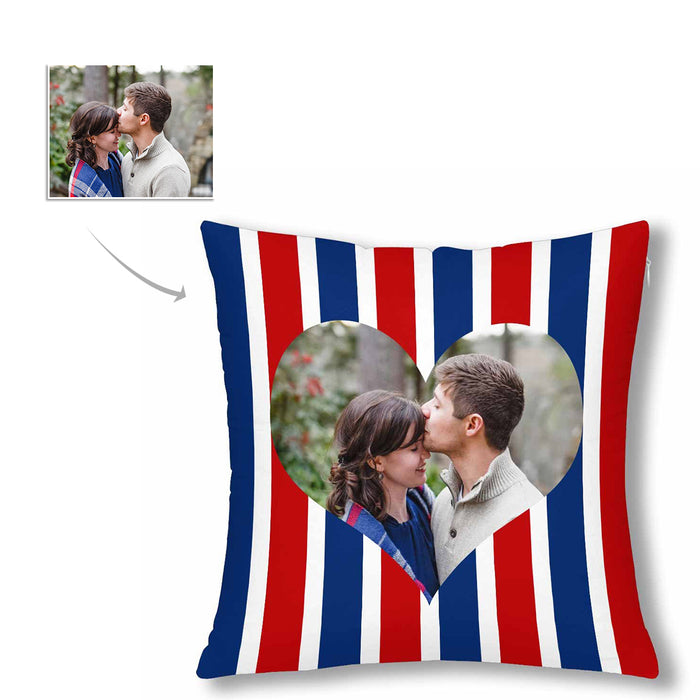 Custom Stripe And Big Heart Pattern With Photo Pillow Case