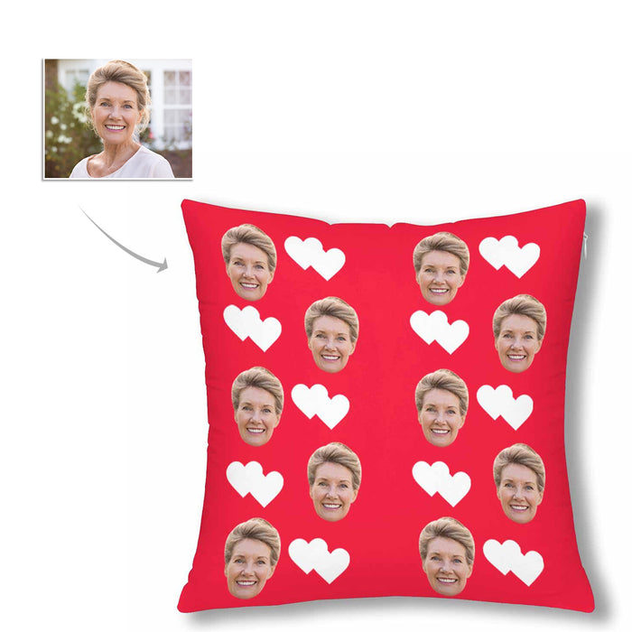 Custom Women's Face And White Heart Patterns Pillow Case|Personalized Photo Gifts
