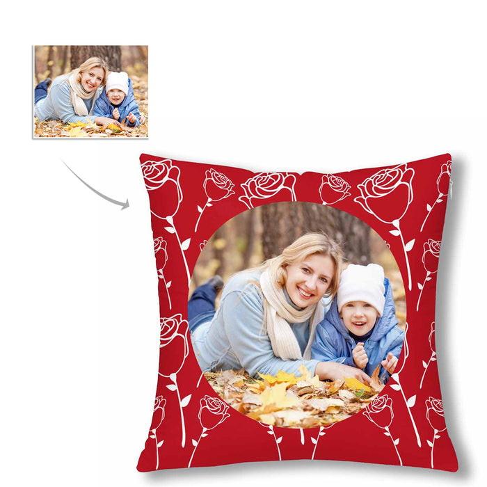 Custom Rose Pattern With Photo Pillow Case