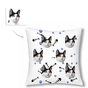 Custom Cat Face And Fish Patterns Pillow Case - myphotowears