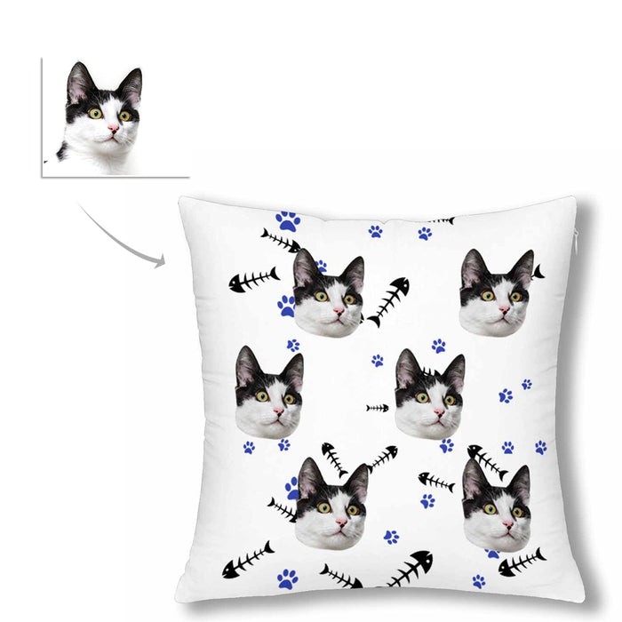 Custom Cat Face And Fish Patterns Pillow Case