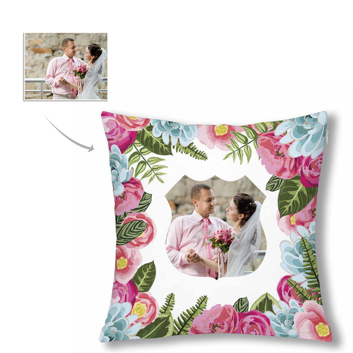 Custom Wedding Photo And Flowers Patterns Pillow Case