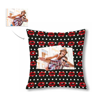 Custom Kiss Patterns With Photo Pillow Case - myphotowears